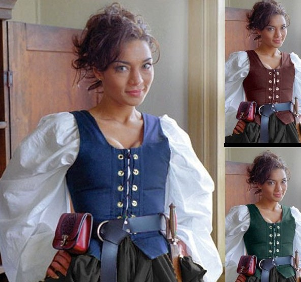 Twill bodice in navy, hunter green, and burgundy, also in brown, not pictured.
