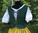 Pirate bodice in hunter green, front view.