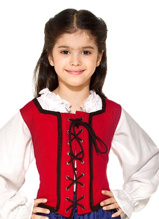 Girls reversible lace-up bodice in red, 5 other colors