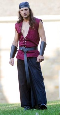 Sailor vest in burgundy, reverses to black.