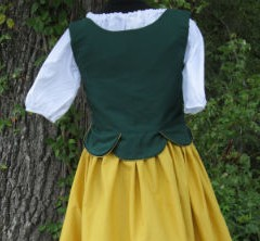 Pirate bodice in hunter green, back view.
