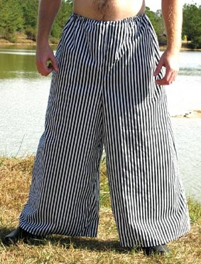 Wide-leg pirate pants in black and white stripes.