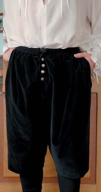 Venetian breeches in black cotton velveteen with cotton lining.