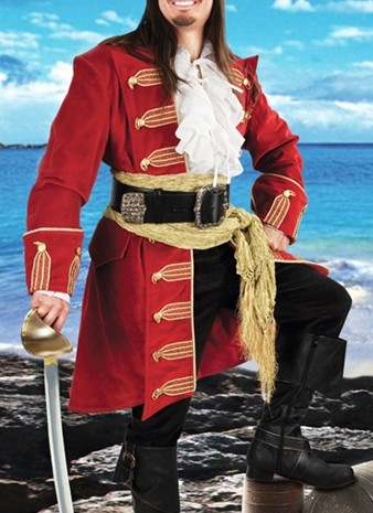 Capt Morgan red velvet pirate coat with gold trim