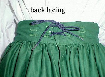 Detail of gathered skirt back lacing and eyelets.