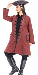 Capt. Delahaye ladies pirate captain coat, faded red with wood buttons
