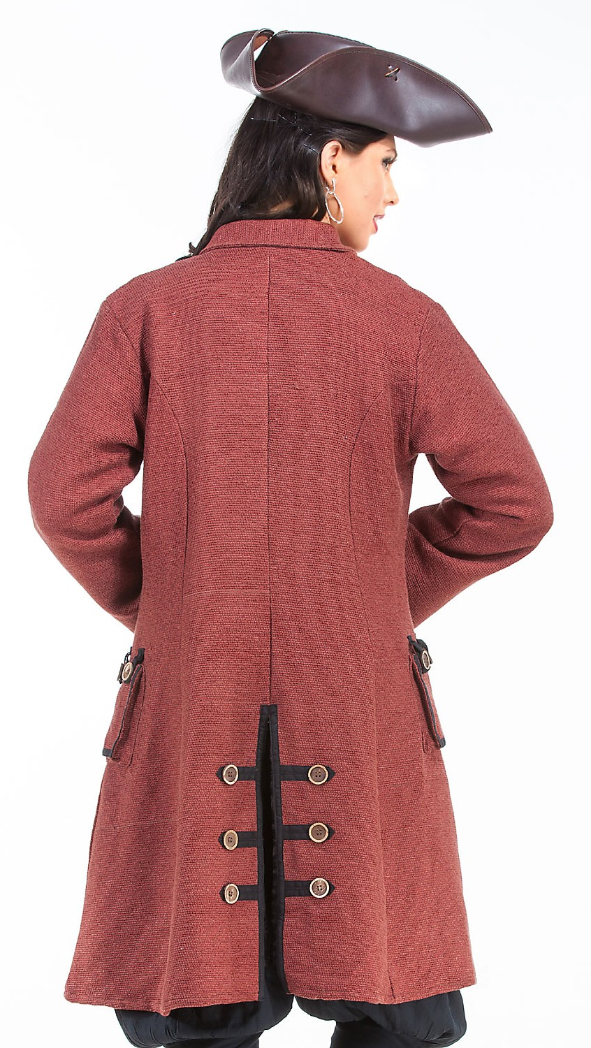 Back view of Capt. Delahaye Pirate Captain Coat, faded red with wood buttons