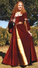 Berengaria Gown in Red Velvet with gold front panel and sleeve linings