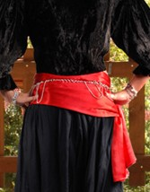 Satin Pirate Bandana-Sash in Red.  6 other colors available. 100 inches long,  20 inches wide.