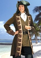 Mary Read Pirate Ensemble includes the coat, brocade vest, white shirt and leather hat.