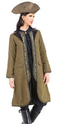 Angelica brown suede pirate coat with attached vest inset.