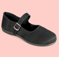 Black canvas Mary Jane shoe with metal buckle, rubber sole, sizes 5 to 11.