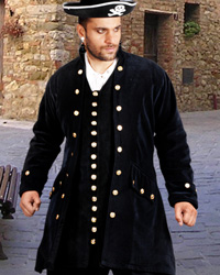 Captain Delisle pirate coat, black velvet with silver buttons