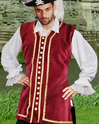 Captain Easton Vest in burgundy velvet with gold trim.  Sizes to XXXL and X-Tall.