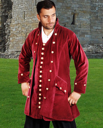 Captain England pirate captain coat in burgundy velvet.