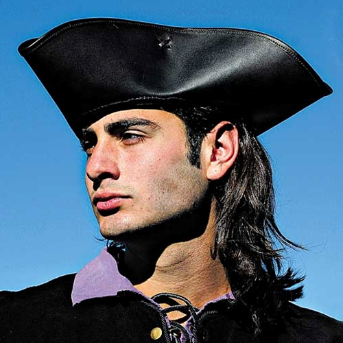 Captain Jack Leather Tricorn Hat