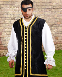 Captain Peter Vest in black velvet with gold braid trim and a row of gleaming gold-tone buttons down the front.