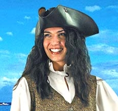 Mary Read Pirate Vest and Shirt with black leather tricorn Capt. Jack hat