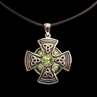 Celtic Mandala Cross pendant in silver finish with five faux faceted green jewels