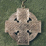 Celtic Silver Cross, 2 inches across, on 24-inch leather thong.