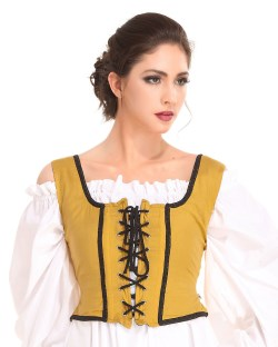 Decorated Wench Bodice in gold, reverses to black.