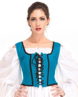 Decorated Wench Bodice in Hawiian Ocean Blue, reverses to black