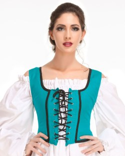 Decorated bodice in hunter green, reverses to black