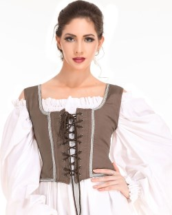 Decorated Wench Bodice, light brown with tan trim.