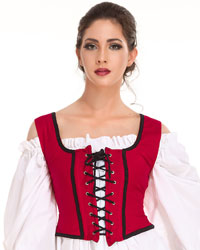 Decorated bodice in red, reverses to black