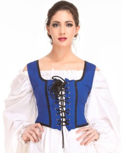 Decorated Wench Bodice in Royal Blue, reverses to black.