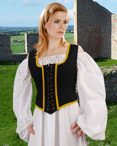 Reverse side of decorated wench bodices--black with gold trim