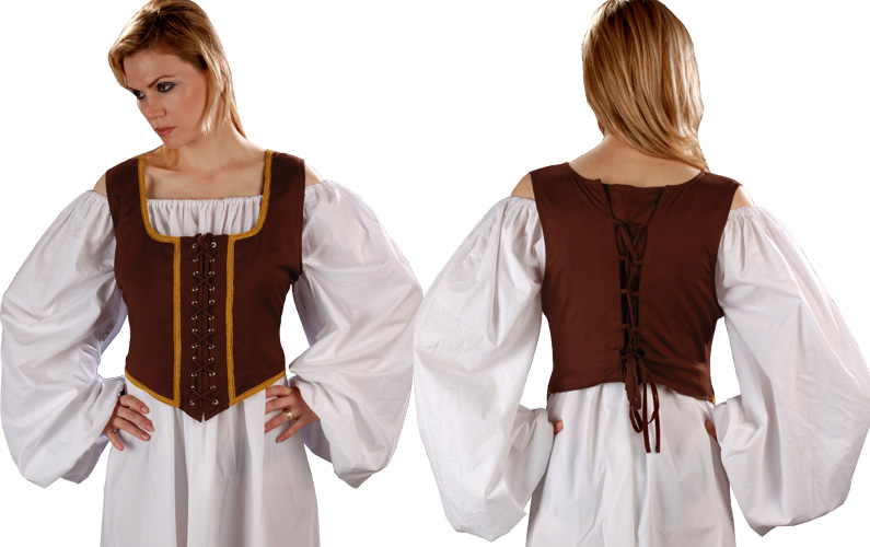 Decorated Wench Bodice, chocolate with gold trim, reverses to light brown with  tan trim.