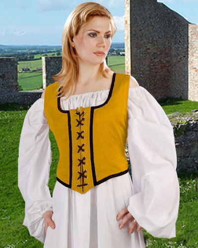 Decorated Wench Bodice in gold with black trim, reverses to black with gold trim.