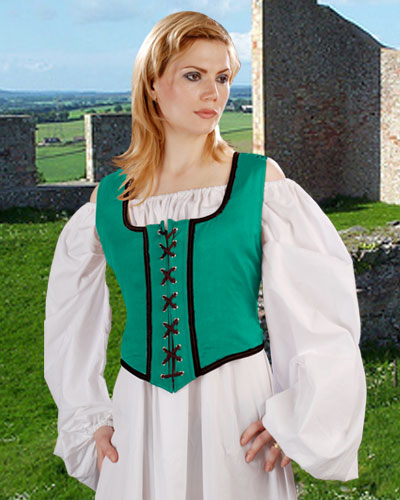 Decorated Wench Bodice in green with Black trim, reverses to black with gold trim