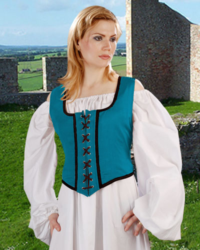 Decorated Wench Bodice in Hawiian Ocean Blue with Black trim, reverses to black with gold trim