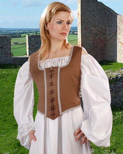Decorated Wench Bodice, light brown with tan trim, reverses to chocolate with gold trim.