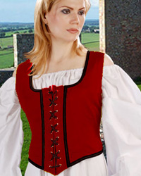 Decorated Winch Bodice in Red with Black Trim, reverses to black with gold trim.