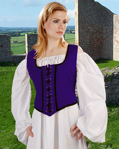 Decorated Wench Bodice in Royal Blue with black trim, reverses to black with gold trim