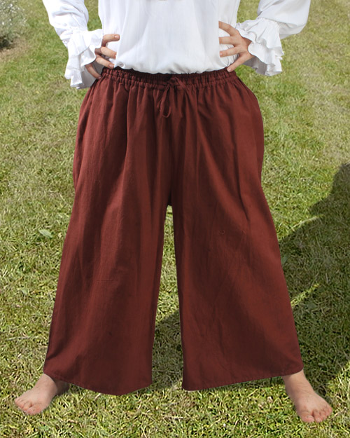 Drawstring, wide-leg pants in brown.