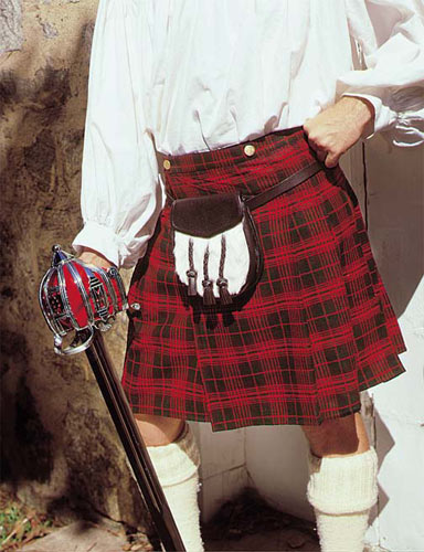 Early Kilt in red and green plaid