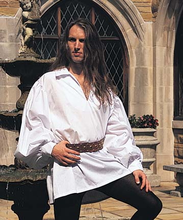 Early Renaissance Shirt in white poly-cotton.