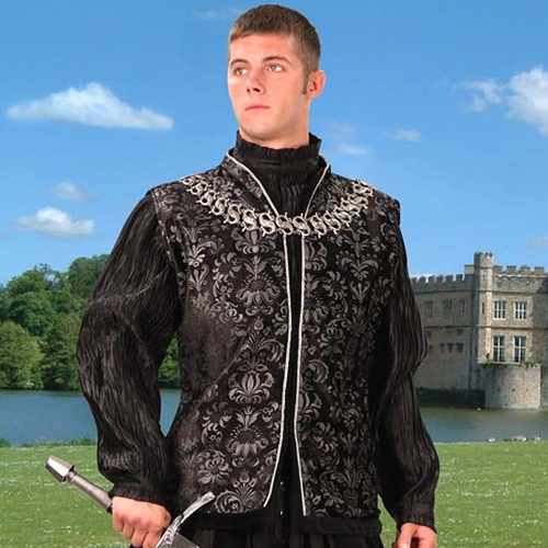 Lord of Essex Long Vest in black and silver brocade with silver trim