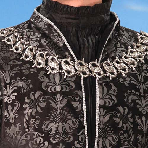 Close-up view of Lord of Essex Long Vest neckline