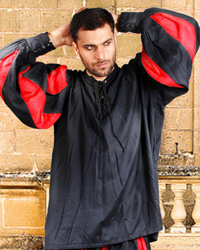 European Medieval Shirt in Black and Red, also available in Black and White