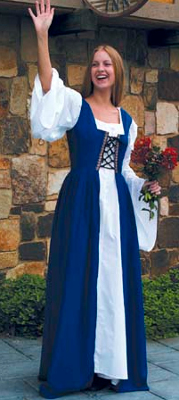 Fair Maiden Dress in Royal Blue, boned, reinforced lace-up bodice with attached overskirt, split front to let chemise show, also available in red and kelly green.