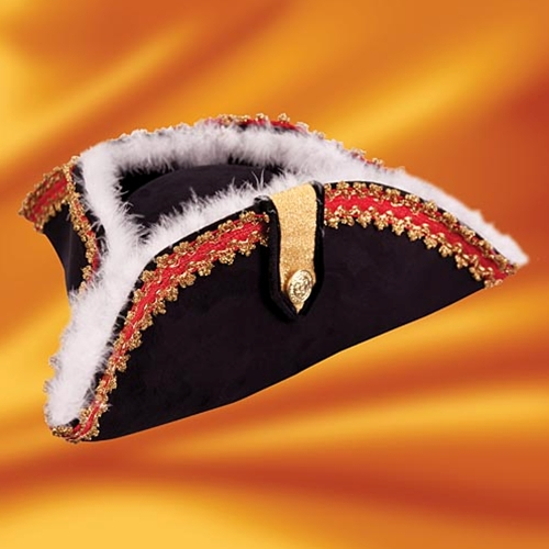 Fancy tricorn in stiff black ultrasuede with red and gold braid trim and white feather trim.