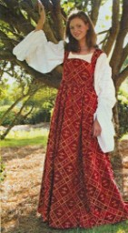 Fleur de Lis Dress - empire waist dress in 16th Century style, burgundy with gold fleur-de-lis pattern, wear with any of our white or cream chemises.