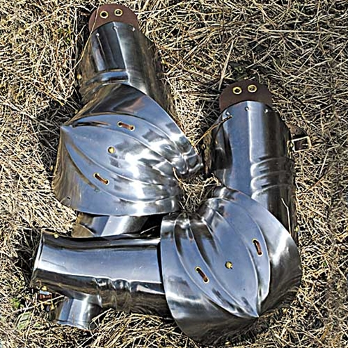 German rerbrace, vambrace and couter armor, protects upper and lower arm