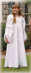 White Celtic Chemise for girls, long, full sleeves with drawstrings at shoulders to adjust length.