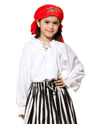Girls ruffled pirate blouse in white